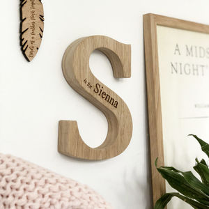 Personalised New Baby Raw Oak Letter - christening gifts