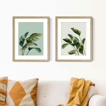 Botanical Palm Leaf Prints Set Of Two
