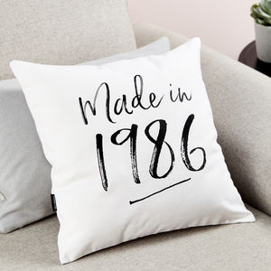 Personalised 'Made In' Cushion - 70th birthday gifts