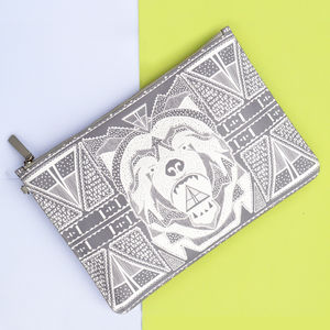 Bear Print Leather Clutch Bag