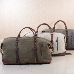 Canvas Classic Travel Holdall Bag - personalised