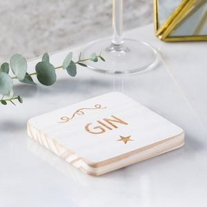 'Gin' Personalised Wooden Coaster