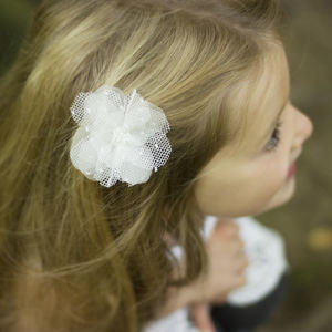 Ellie Beaded Tulle Silk Flower Hair Clip - hair accessories