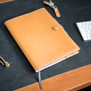 A4 Personalised Vegetable Tanned Leather Notebook + Pen - writing