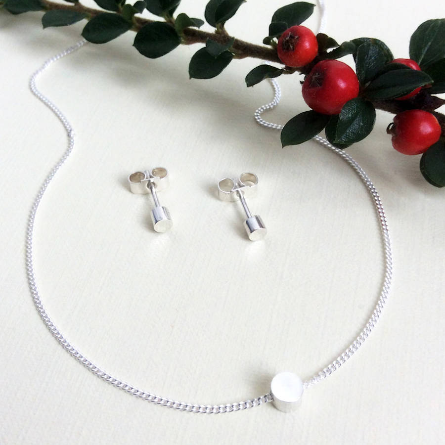 Silver Tiny Circle Necklace And Earring Set