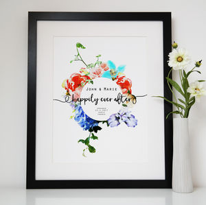 Personalised Happily Ever After Engagement Print - winter sale