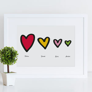 Personalised Family Hearts Print - children's pictures & paintings