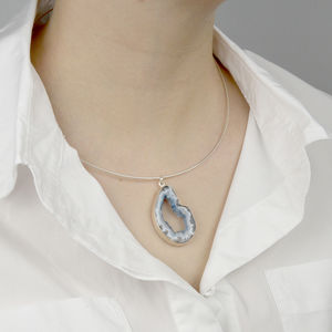 Agate Pendant On Sterling Silver Choker - necklaces & pendants