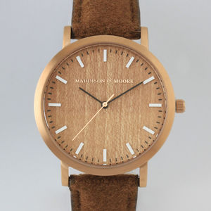 Classic Rose Gold Dark Brown Wool Unisex Wood Watch - watches