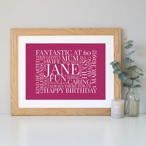 Personalised 60th Birthday Gift - typography