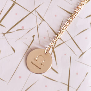 Hand Stamped Zodiac Disc Necklace