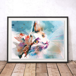 The Look Of Love Cat Watercolour Fine Art Print - animals & wildlife