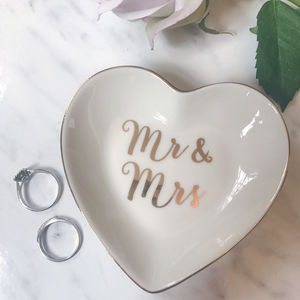 Mr And Mrs Gold Heart Trinket Dish - jewellery storage & trinket boxes