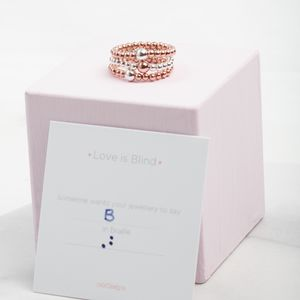 Personalised Braille Code Stacking Ring Gift For Her