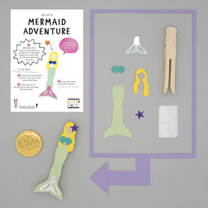 Make Your Own Mermaid Peg Doll Kit - for children
