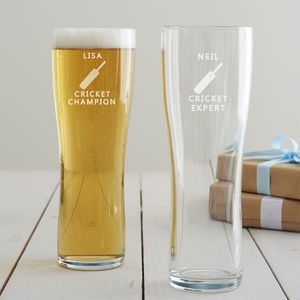 Personalised Cricket Pint Glass - beer & cider glasses