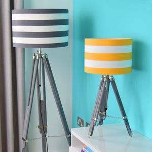 Grey Tripod Lamp Base With Choice Of Stripe Shade