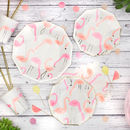 Neon And Gold Flamingo Pattern Party Plates