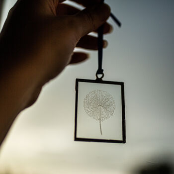 Dandelion Hand Engraved Glass Hanging Decoration