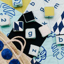 Mint and Navy Patchwork Play Mat Close Up