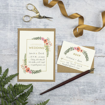 Modern Botanical DIY Wedding Invitation Set