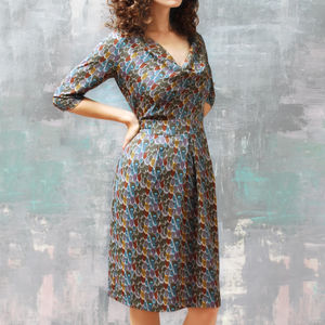 Cowl Neck Dress In Feather Print Crepe