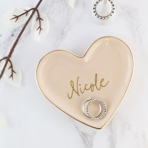 Personalised Heart Shaped Ceramic Trinket Dish