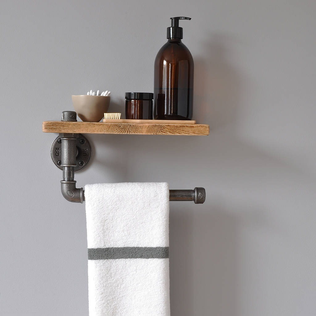 industrial towel rail and shelf by ma design notonthehighstreetcom