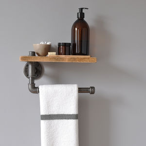 Industrial Towel Rail And Shelf - laundry room
