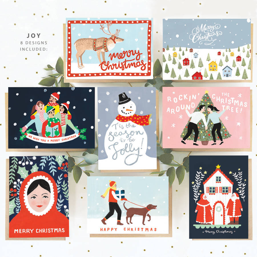 Box Of Eight Assorted Christmas Cards By Jade Fisher Notonthehighstreet Com