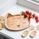 Personalised Fox Bamboo Plate And Cutlery Set