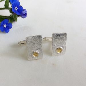Silver And Gold Rectangle Cufflinks - men's accessories