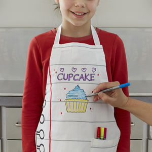 Doodle Cotton Child Apron To Personalise - children's cooking