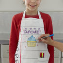 Thumb write on junior chef doodle child apron