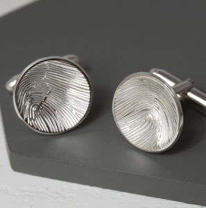 Silver Domed Fingerprint Cufflinks