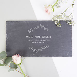 Botanical Wedding Gift Personalised Slate Serving