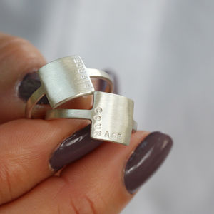 Personalised Square Affirmation Ring