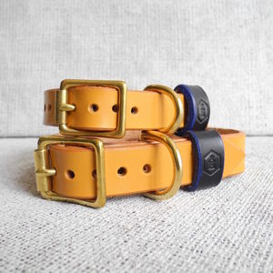 Personalised London Series Leather Dog Collar - new in pets