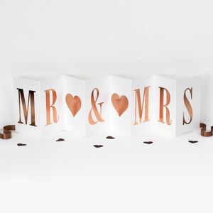 Luxury Concertina Mr And Mrs Card; Rose Gold Foil - wedding cards & wrap