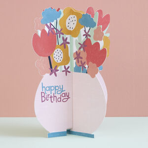 Happy Birthday 3D Card Flowers