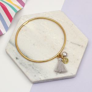 Personalised Gold Or Sterling Silver And Pearl Bangle