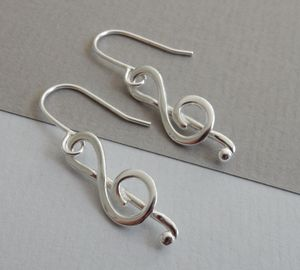 Silver Treble Clef Drop Earrings - earrings