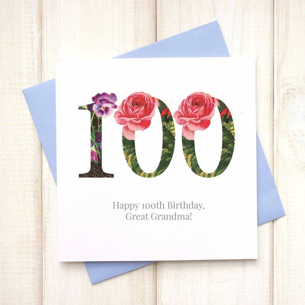 personalised 100th floral birthday card by chi chi moi – 100th Birthday Greetings