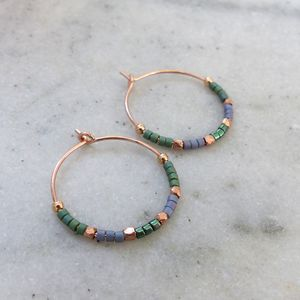 Delica Pattern 20mm Hoops In Green And Blue - earrings