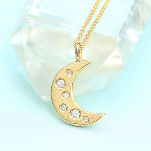 18ct Gold Diamond Moon And Stars Necklace
