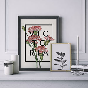 Personalised Carnations Botanical Flower Print - birthday gifts