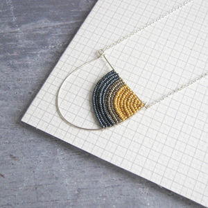 Curve Geometric Silver Necklace