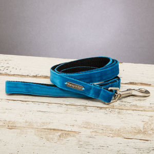The Constantine Turquoise Velvet Dog Lead - pets
