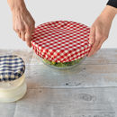 Set Of Three Gingham Cotton Bowl Overs Bowl Covers