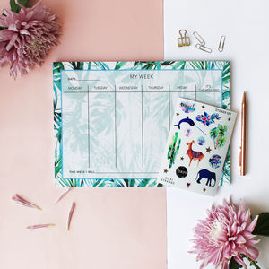 A4 Paradise Tropical Palms Weekly Planner - office accessories